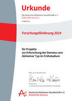Forschung zum frühen Stadium der Alzheimer-Demenz: Deutsche Alzheimer Gesellschaft vergibt Forschungsförderung