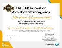 SAP zeichnet PILLER mit dem Innovation Award 2020 aus