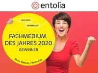"""entolia - ausgezeichnet als """"Fachmedium des Jahres 2020"""""""