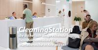 """Die Desinfektionssäule """"CleaningStation"""" - ästhetisch ansprechende Desinfektionslösung für Wartebereich in Arztpraxis"""