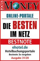 Bestnote für ehotel® von Focus-Money