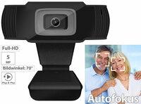 Somikon Full-HD-USB-Webcam mit 5 MP, Autofokus & Mikrofon