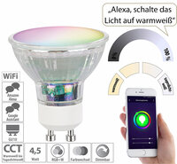 Luminea Home Control WLAN-LED-Glas-Spot GU10