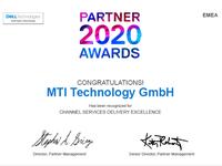MTI mit dem Channel Services Delivery Excellence Award 2020 ausgezeichnet