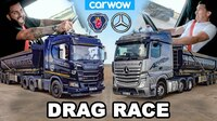 Carwow Drag Race mit zwei Boliden: Scania R500 Vs Mercedes Actros