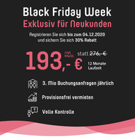 Black Friday Week: Ferienhausvermieter erhalten 30 Prozent Rabatt auf Neuinserate
