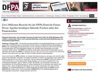 Zwei Millionen Besuche bei der DFPA Deutsche Finanz Presse Agentur bestätigen führende Position unter den Finanzmedien