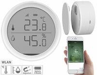Luminea Home Control WLAN-Temperatur- & Luftfeuchtigkeits-Sensor