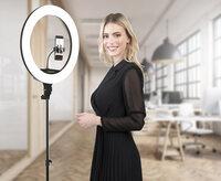 Somikon XL-LED-Ringlicht mit Smartphone-Halter, Ø 46 cm