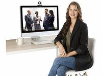 Somikon Full-HD-USB-Webcam mit LED-Ringlicht, Autofokus
