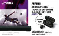 Anpfiff für besten Klang - jetzt Yamaha Soundbar kaufen und Bluetooth-Kopfhörer geschenkt bekommen