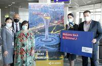 Air Astana ist in Frankfurt ins Terminal 2 zurückgekehrt