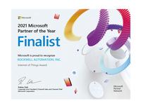 Rockwell Automation im Rahmen der Auszeichnung Microsoft Internet of Things Partner of the Year 2021 zum Finalisten gewählt