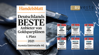 """Handelsblatt Auszeichnung 2021 für Auvesta: """"Bester Anbieter von Goldsparplänen"""", sagen Kunden"""