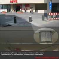 Rumatek montiert automatischen Poller in einer Tiefgaragendecke in Darmstadt