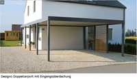 Alles unter einem Dach: Designo Doppelcarport mit Eingangsüberdachung