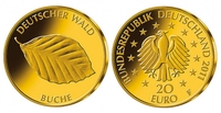 """BEGEHRTES """"BLATT-GOLD"""" - Neue deutsche Gedenkmünze """"Deutscher Wald"""""""