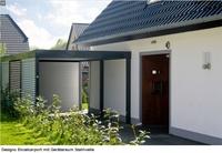 Für Feinschmecker des gehobenen Designs: Designo Einzelcarport mit Geräteraum Stahlwelle