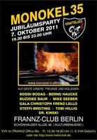 35 Jahre Monokel: Jubiläumskonzert mit MONOKEL-KRAFTBLUES und Gästen am Freitag, 7. Oktober 2011, im FRANNZ, Berlin