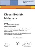 Die Handwerkskammer in Ulm ehrt die H&H Gerätebau GmbH