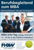 Berufsbegleitendes Studium zum MBA - Info-Tag an der FHDW