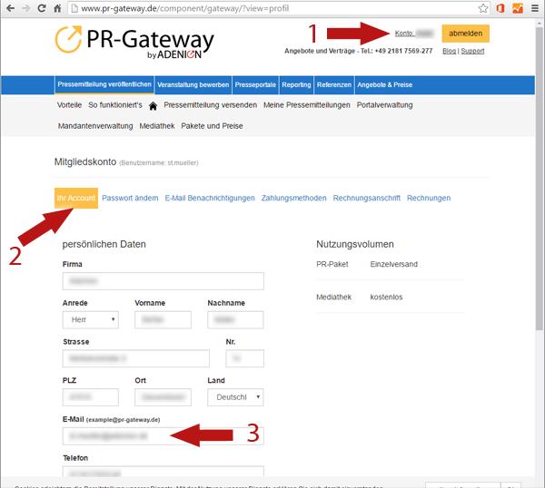 Email anpassen in PR-Gateway