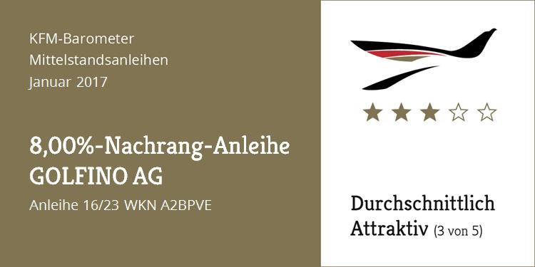 "KFM-Mittelstandsanleihen-Barometer – Die ""8,00%-GOLFINO-Nachrang-Anleihe"""