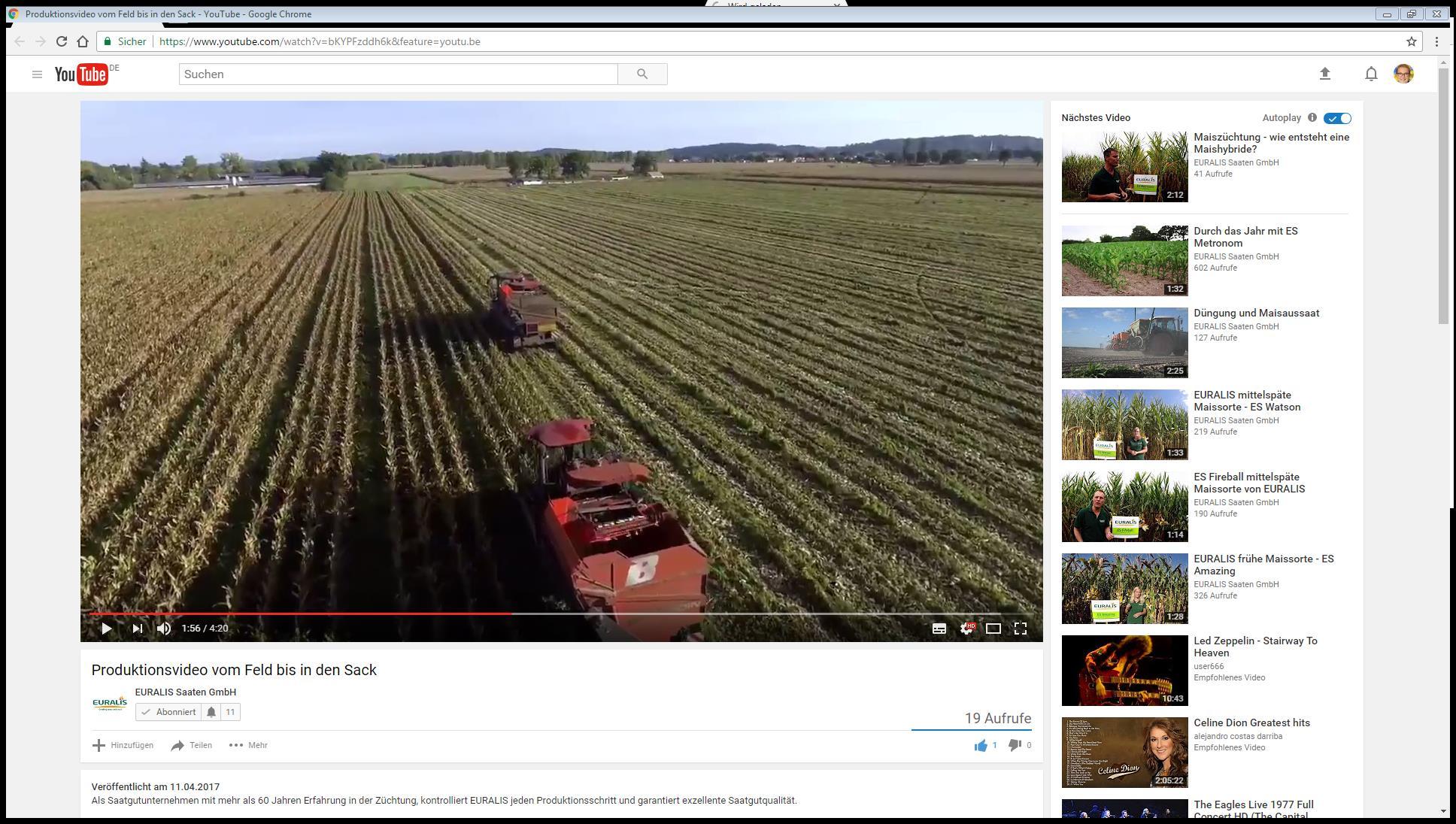 """EURALIS Produktionsvideo  """"Vom Feld bis in den Sack"""""""