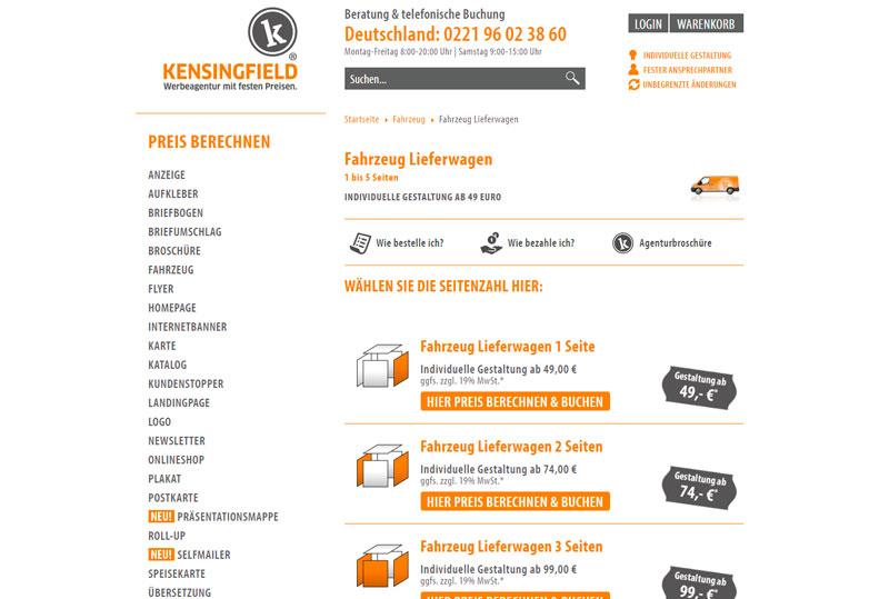Neu bei Kensingfield: Werbung auf Lieferwagen ab 59 Euro