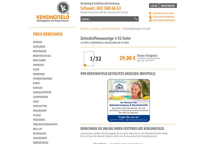 Bei Kensingfield: Zeitschriftenanzeige ab 29 Euro