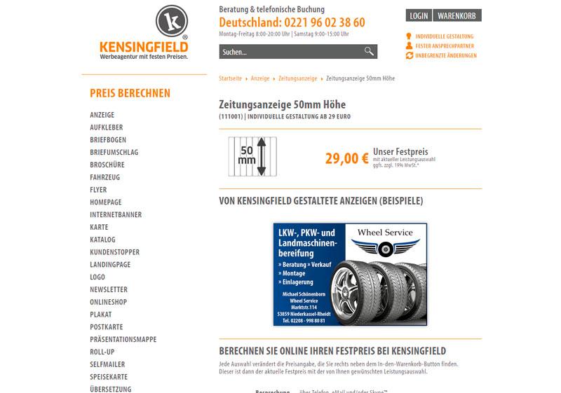 Bei Kensingfield: Zeitungsanzeige ab 29 Euro