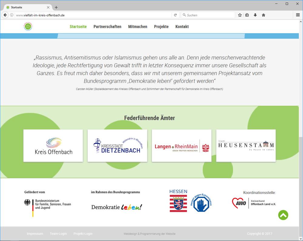 Neue Homepage der Initiative Partnerschaften für Demokratie im Kreis Offenbach