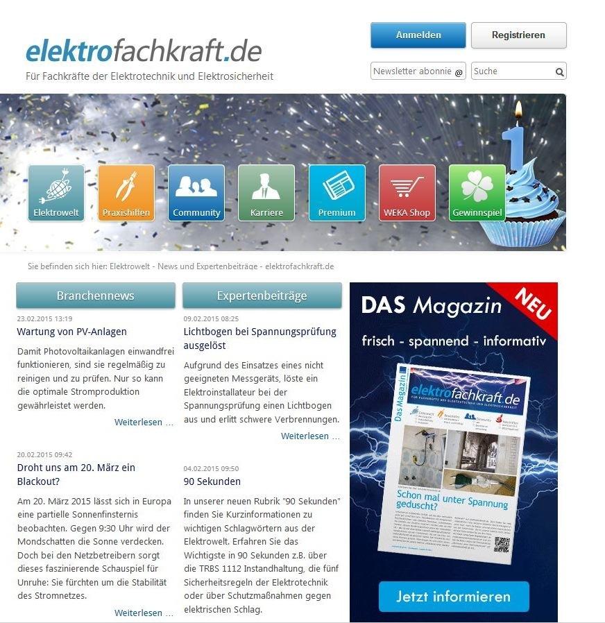 elektrofachkraft.de von WEKA MEDIA wird ein Jahr