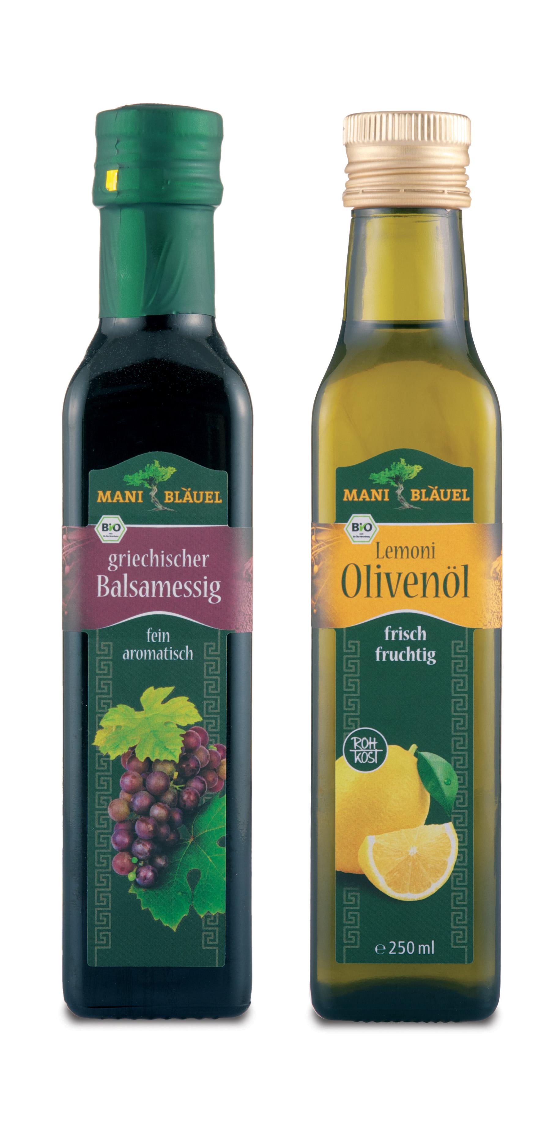 Griechisches Gourmet-Duo von Mani Bl#xE4uel: Lemoni Oliven#xF6l und Balsamessig