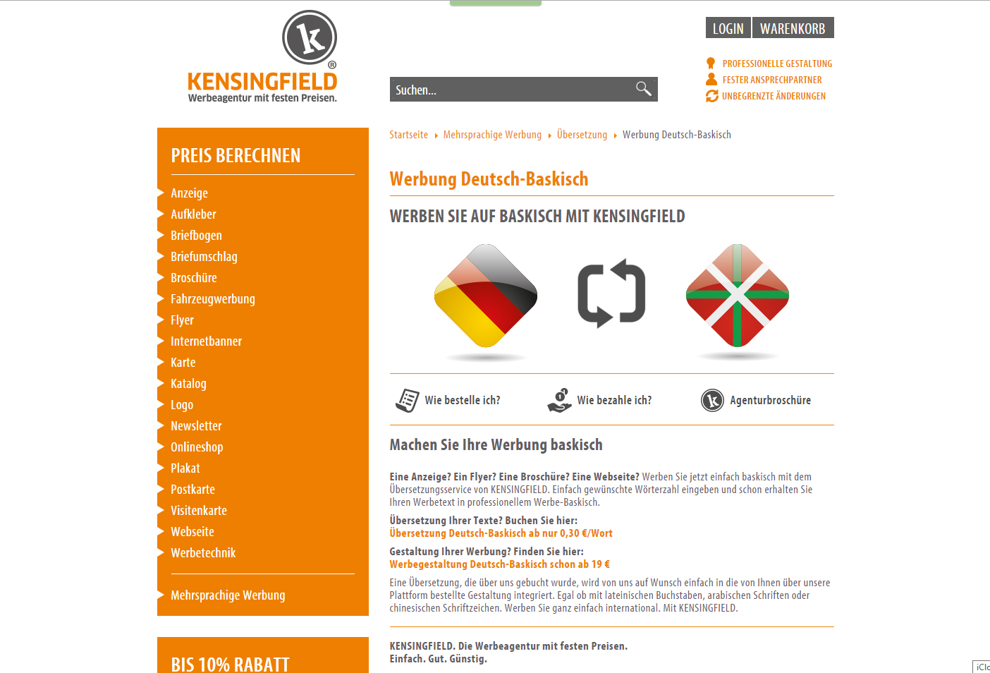 Werbung auf baskisch? Ja, bei KENSINGFIELD.