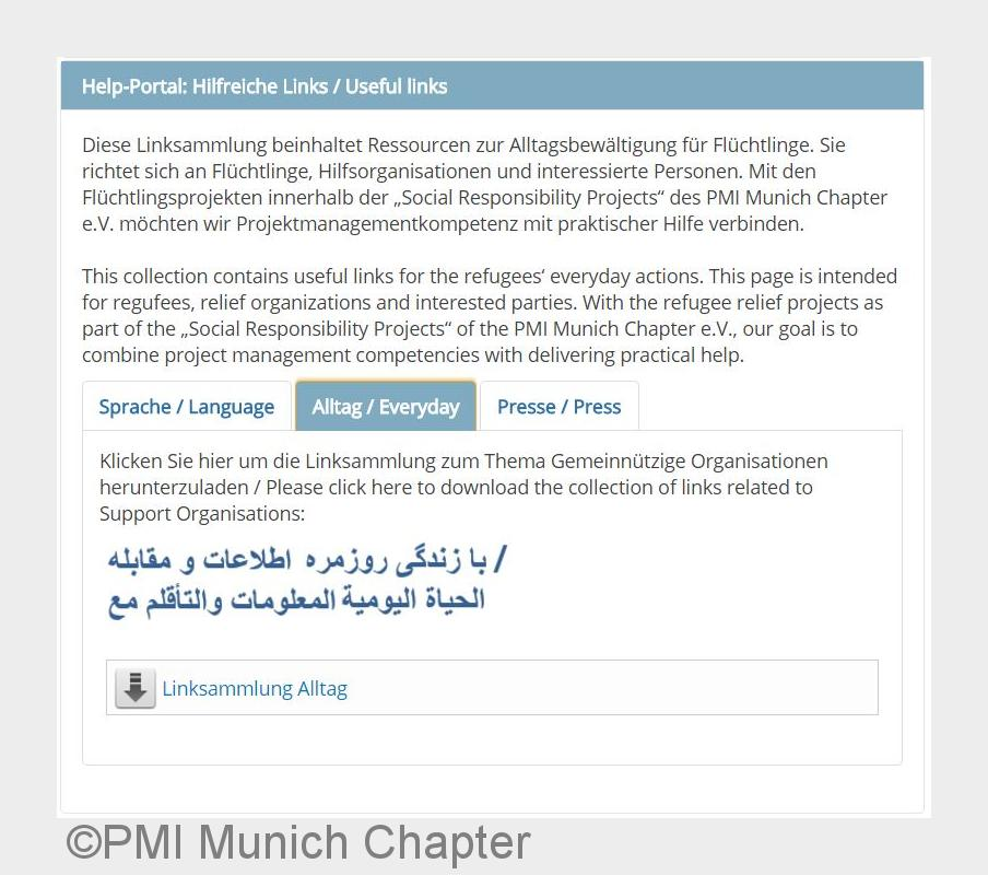 Fl#xFCchtlingshilfe: PMI Munich Chapter e.V. launcht Hilfe- und Informationsportal