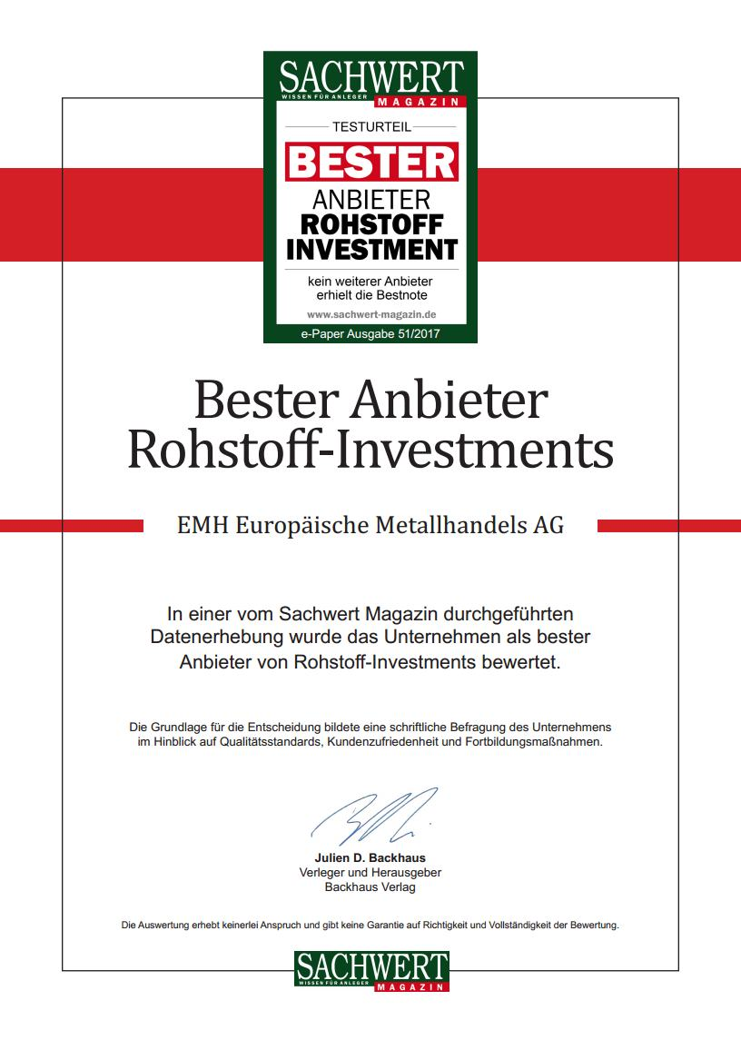 EMH AG – Bester Anbieter bei Rohstoff Investments