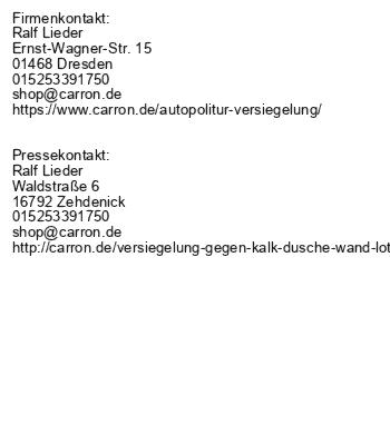 carron® Autopflege mit Autopflegemitteln made in germany
