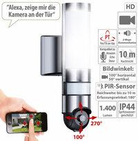 VisorTech LED-Außenwandleuchte & WLAN-HD-Kamera mit PIR