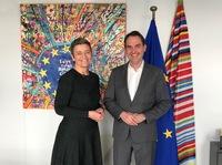 BITMi-Präsident Grün diskutiert Digitalstrategie der EU-Kommission mit Vizepräsidentin Vestager