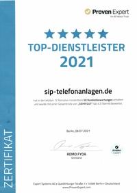 TOP-Dienstleister 2021 für sip-telefonanlagen.de