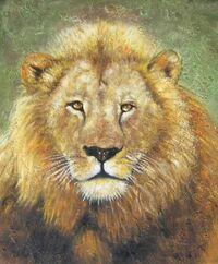 Simbabwischer Löwe Cecil in Öl auf Leinwand