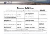 Studie über Timmins Gold Corp. veröffentlicht / Analytischer Bewertungskurs 1,40 CAD / 1,17 (+250% Kurspotenzial)
